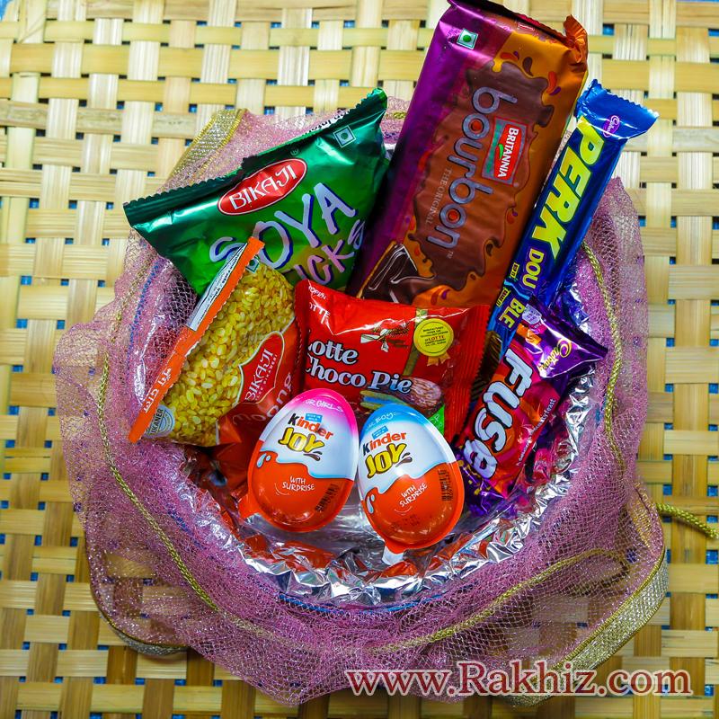 Handmade Pack Basket : Handmade basket full of choclates gift pack for kids buy