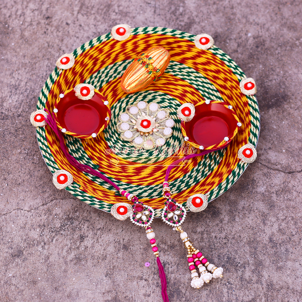 Handmade rakhi pooja thali of mouli with kundan work rakhi for Aarti thali decoration with kundan