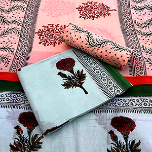 Cotton Suit With Mulmul Cotton Dupatta