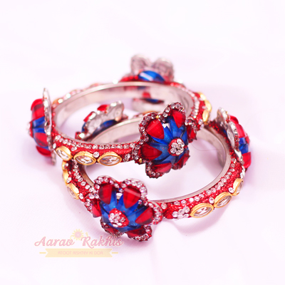 Floral Look Multi Colored Exclusive Bangles Pair
