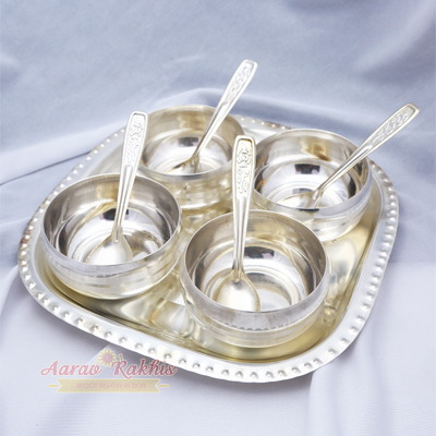 Dry Fruit Set - Silver Plated Brass 4 Bowls
