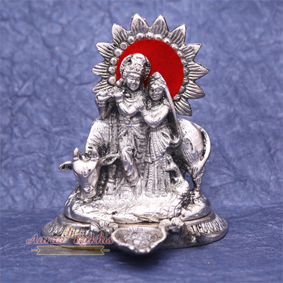 Idol Radhe Krishna With Cow  Metal Statue