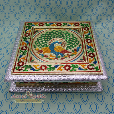 Designer Silver Handicraft Dry Fruit Box With Meenakari Peacock Painting