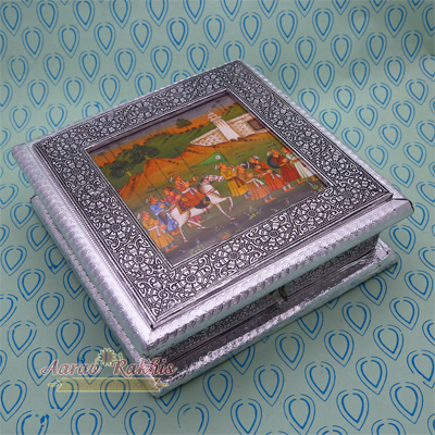 Silver Handicrafted Dry Fruit Box With Rajasthani Painting