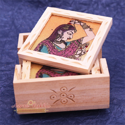 Handicraft Wooden Painted 6 Pcs Tea Coaster