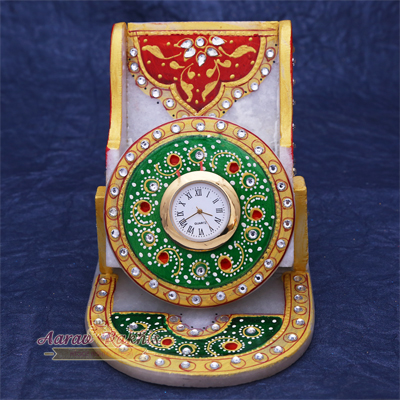 Handicrafted Marble Mobile Holder With Watch