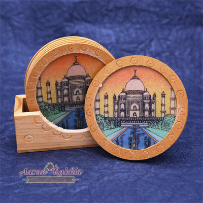 Wooden Base Taj Mahal Painted 6 Pcs Tea Coaster