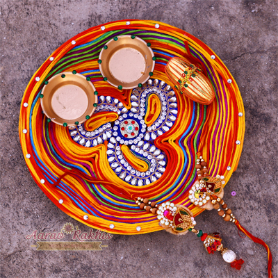 Multicolor Resham Dori Made Rakhi Pooja Thali With beautiful Rakhi Set
