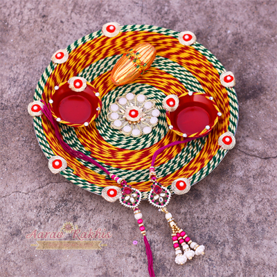 Handmade Rakhi Pooja Thali Of Mouli With Kundan Work Rakhi Pair