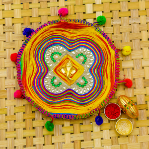 Colourful Dori n Pom Pom Crafted Rakhi pooja Thali