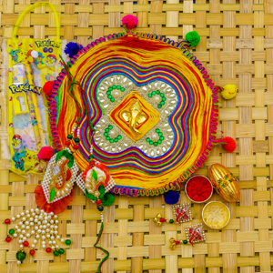 Colorful Rakhi pooja Thali Gift Hamper