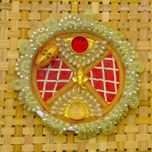 Beautiful Pearl studded Rakhi Pooja Thali