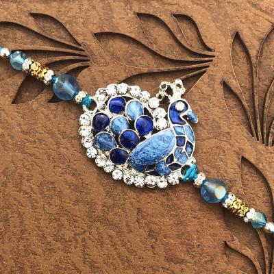 Peacock for Blessings Pearl Stone Rakhi