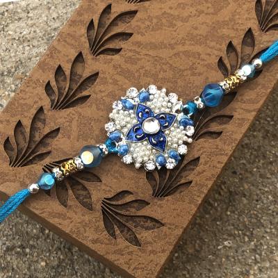 Extravagent Kundan & Meena Stone Beads Rakhi