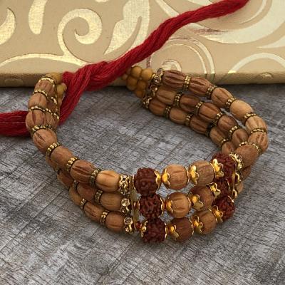Stunning Triple Rudraksh & Beads Rakhi