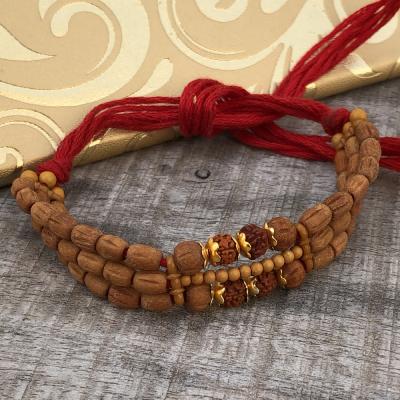 Brown Beads & Zardoshi Look Rakhi for Brothers