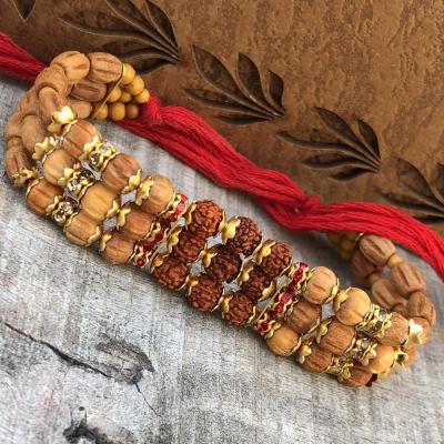 Graceful Rudraskh & Beads Rakhi for Bhai