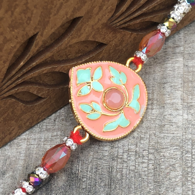 Pink Stone Floral Work Beads Rakhi for Brothers