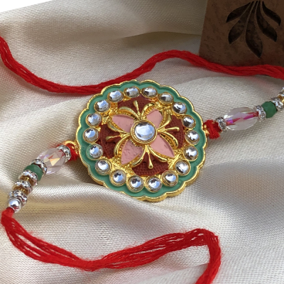 CZ Stones Rakhi with Golden & SIlver Beads