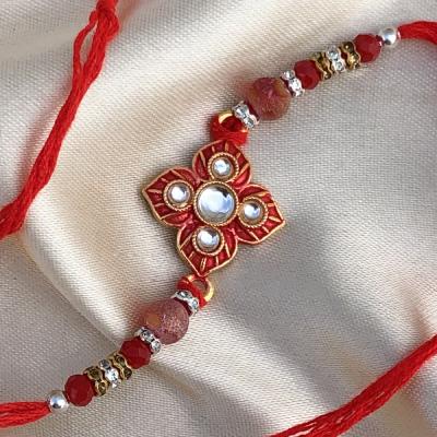 Well Being Blessing Red Stone & Diamond Rakhi Set