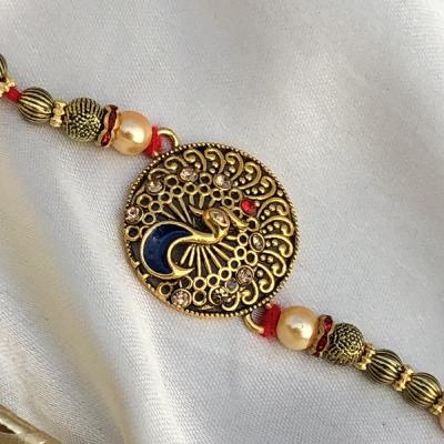 Prosperity Golden Peacock Rakhi for Brothers