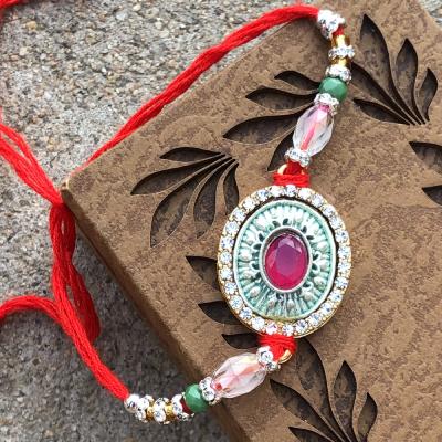 Kundan Stone & Beads Diamond Rakhi for Brothers