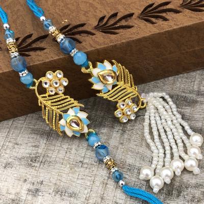 Designer Precious Stone & Beads Bhaiya Bhabhi Rakhi Set