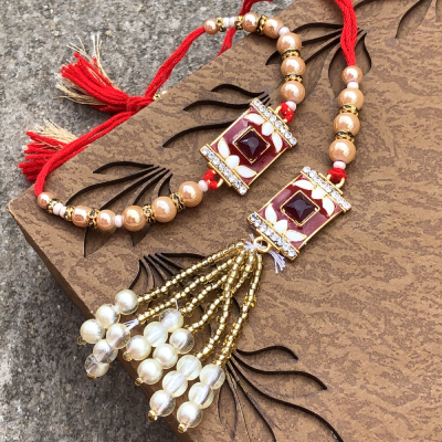 Traditional Stone & Beads Bhaiya Bhabhi Set of Rakhi