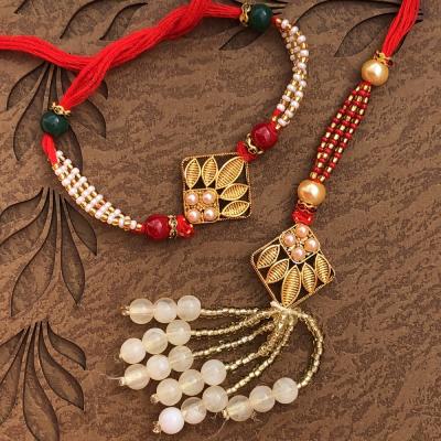 Glowing Gold Plated Bracelet Bhaiya Bhabhi Rakhi Set