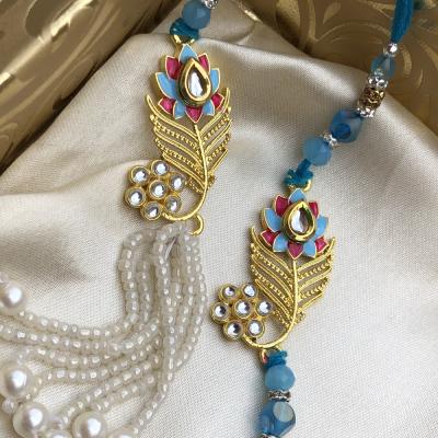 Magnificient Red & Blue Stone Designer Bhaiya Bhabhi Combo Rakhi