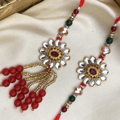 Rare Kundan Stone & Beads Bhaiya Bhabhi Lumba Rakhi