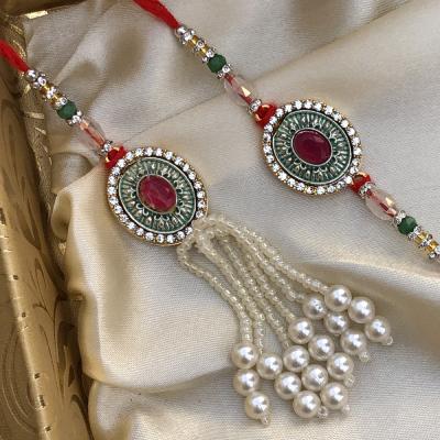 Euphoric Red Stone & Rare Beads Bhaiya Bhabhi Rakhi Set