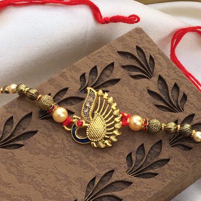 Rare Golden Peacock & Stone Beads Rakhi Set