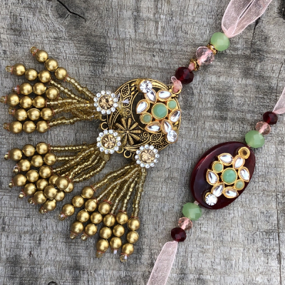 Meena Stone Precious Bhaiya Bhabhi Combo Rakhi Set
