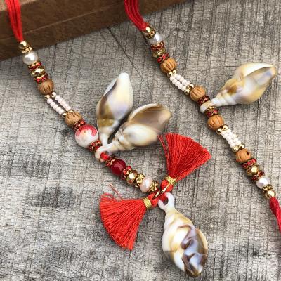 Good Luck Shell & Beads Red Bhaiya Bhabhi Rakhi