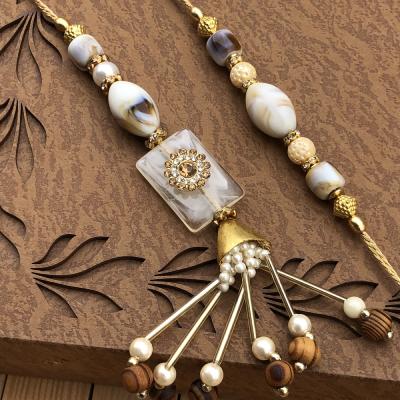 Casual Look Wood & Marble Set of Bhaiya Bhabhi Rakhi