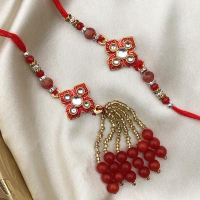 Gorgeous Red & Gold Bhaiya Bhabhi Rakhi