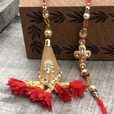 Precious Gold Work Bracelet Bhaiya Bhabhi Rakhi Set