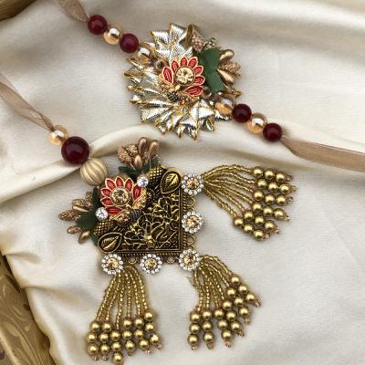 Handcrafted Green & Golden Bhaiya Bhabhi Rakhi Set