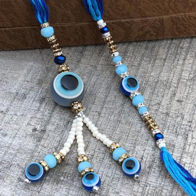 White Beads Evil Eye Bhaiya Bhabhi Blue Rakhi Set