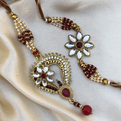 Artistic Gold Work Meena Stone Bhaiya Bhabhi Rakhi