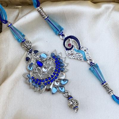 Rare Blue Glass & Stone Designer Bhaiya Bhabhi Rakhi