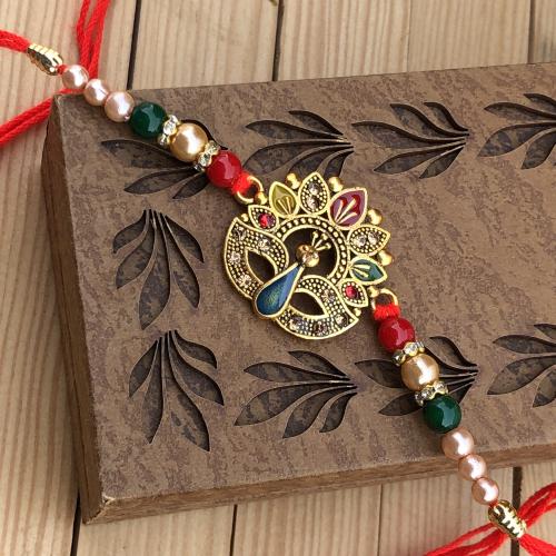 Marvelous Peacock Bracelet Rakhi Combo for Bhaiya
