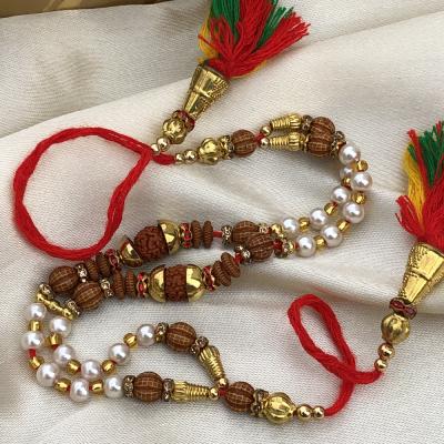 Appealing Pearls & Beads Rudraksh Rakhi Bracelet for Boys