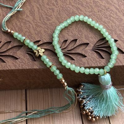 Rare Green Beads Lumba Rakhi Set for Bhaiya Bhabhi