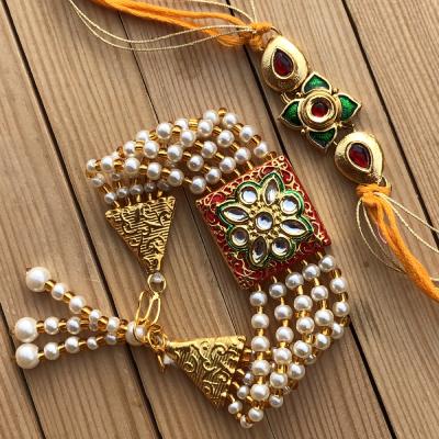 Kundan Meena Stone Bhaiya Bhabhi Rakhi Combo for Raksha Bandhan