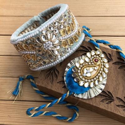 Glittering Glass Diamond Bhaiya Bhabhi Rakhi Combo