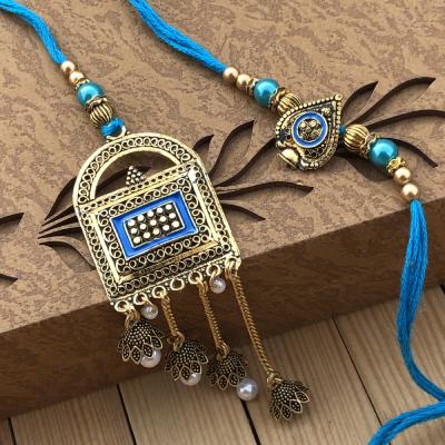 Designer Zardoshi Look Lumba Rakhi for Bhaiya Bhabhi