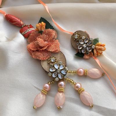 Flawless Peach Raksha Bandhan Rakhi for Bhaiya Bhabhi