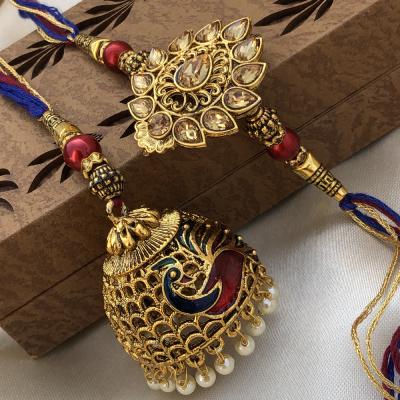 Glittering Gold Lumba Rakhi Set for Bhaiya bhabhi
